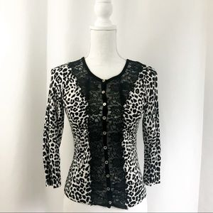 WHBM Leopard & Lace Cardigan Fitted w  3/4 Sleeves